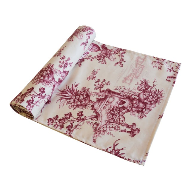 "Custom French Floral & Urn Toile Table Runner 110"" Long For Sale"