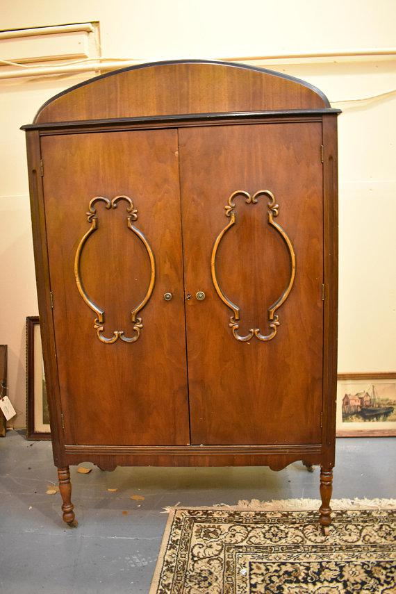 Vintage antique furniture wardrobe walnut armoire Bedroom Closet Antique Walnut Armoire Wardrobe For Sale Image 10 Of 10 Chairish Antique Walnut Armoire Wardrobe Chairish