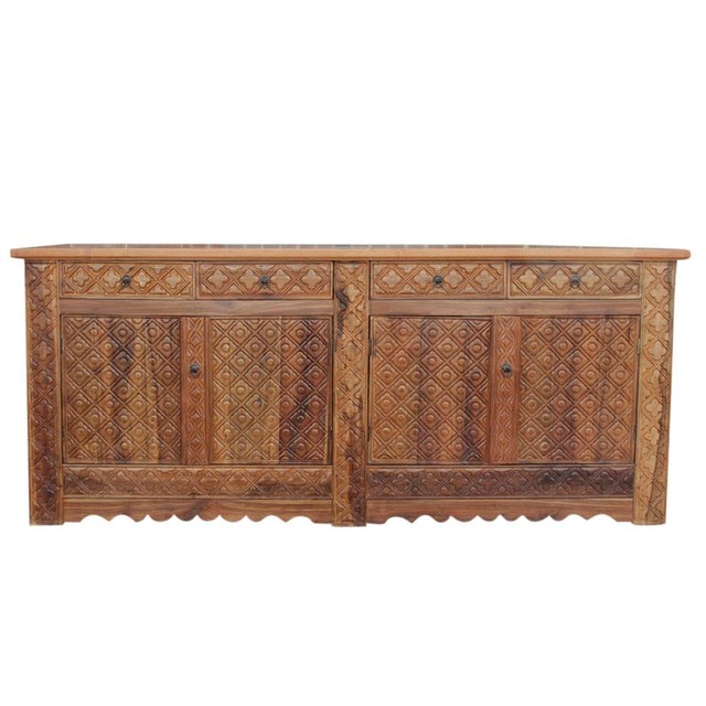 Diamond Carved Enfilade Teak Wood Buffet - Image 8 of 9