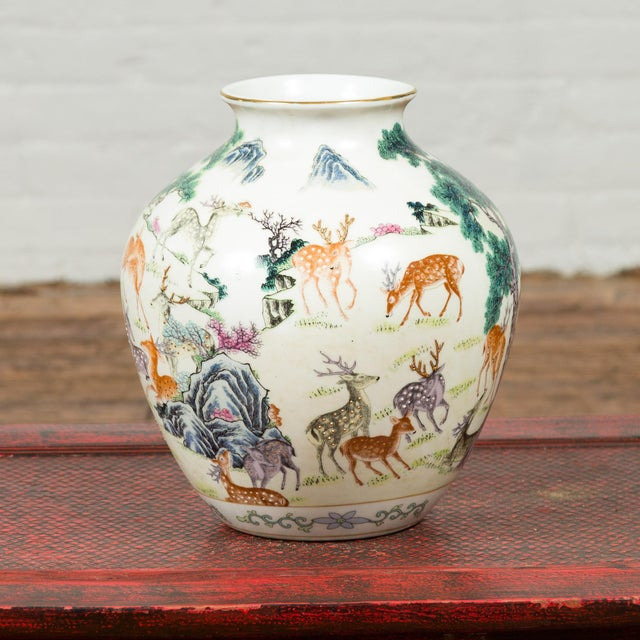 Ceramic 1920s Chinese Porcelain Vase with Gilt Accents, Deer and Mountain Motifs For Sale - Image 7 of 13