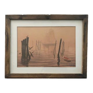 Vintage Watercolor Painting Waterscape With Boats