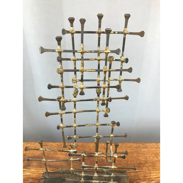 Gold Midcentury Large Brutalist Abstract Nail Art Sculpture For Sale - Image 8 of 12