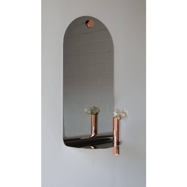 Metal Stainless Steel Mirror With Brushed Copper Vase by Birnam Wood Studio For Sale - Image 7 of 8