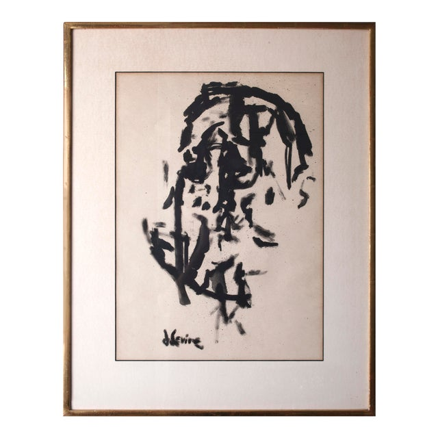 Cubist Portrait Ink on Paper Painting Signed by Jack Levine For Sale