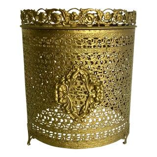 Hollywood Regency Gold Metal Waste Bin Cover For Sale