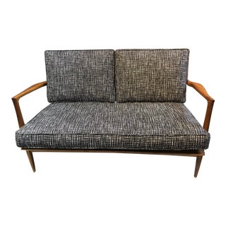 Vintage Mid Century Modern Scandinavian Style Open Arm Loveseat For Sale