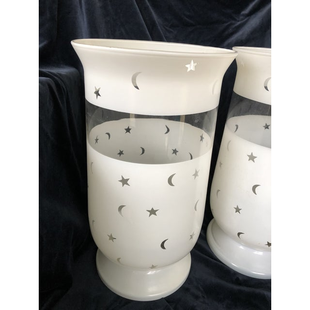 Moon & Stars Decorated Large Scale Frosted Glass Hurricane Shades - A Pair For Sale In New York - Image 6 of 7