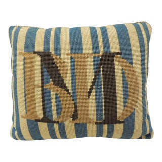 Vintage Monogram Tapestry Decorative Bolster Pillow With Letters Bmd For Sale