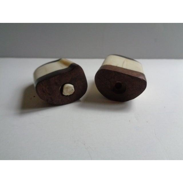 African Vintage Wooden African Rhinoceros Salt and Pepper Shaker Set For Sale - Image 3 of 5