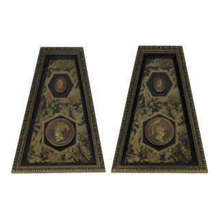 Hollywood Regency Roman God Intaglio Wall Plaques - a Pair