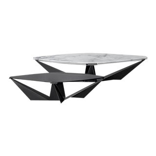Contemporary Kactis Marble, Glass and Steel Coffee Table Set by Atra - 2 Pieces For Sale