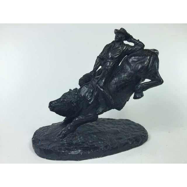1979 Austin Productions Bull Cowboy Rider Sculpture - Image 2 of 11