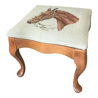 1980s Vintage Needlepoint Horse Stool For Sale