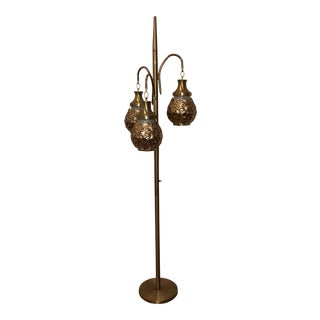 Late 20th Century Vintage Hollywood Glamorous 3 Arm Pole Lamp For Sale