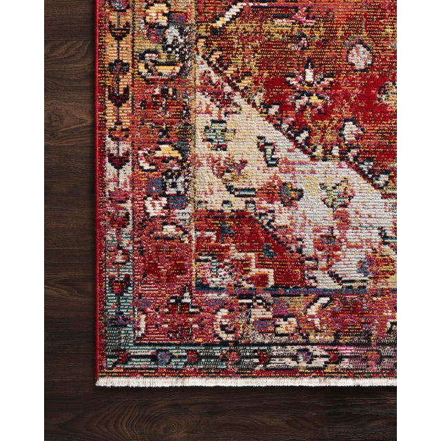 """Transitional Loloi Rugs Silvia Rug, Red / Multi - 1'6""""x1'6"""" For Sale - Image 3 of 4"""