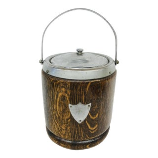 English Wood & Metal Ice Bucket With Handle For Sale