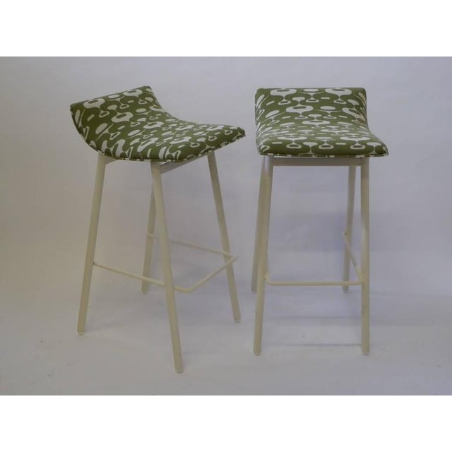 Fabric Pair of 1950s Mid-Century Modern Curved Seat Bar Stools For Sale - Image 7 of 10