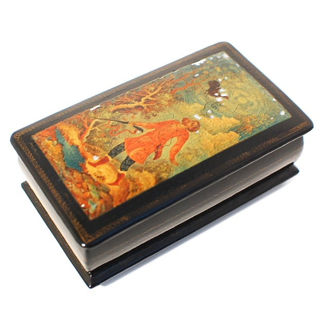 Russian Lacquer Box with Hinged Lid For Sale