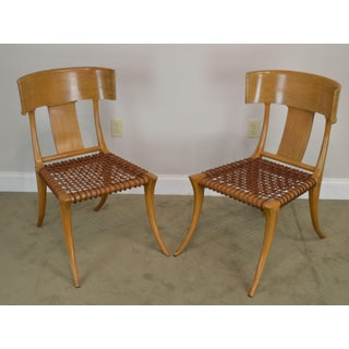 T. H. Robsjohn Gibbings Saridis of Athens Walnut & Leather Pair Klismos Chairs Preview