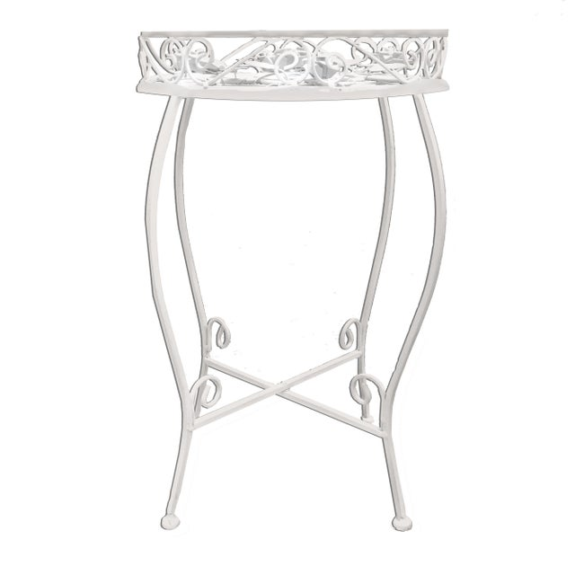 Palm Springs Regency White Iron Rose Bud Decorated Side Tables - a Pair For Sale - Image 4 of 12