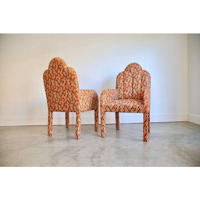 Scalloped Postmodern Armchairs- A Pair For Sale - Image 10 of 13