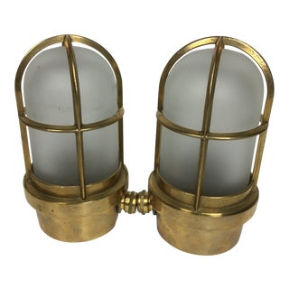 Brass Sculptural Ships Light Sconces - a Pair For Sale