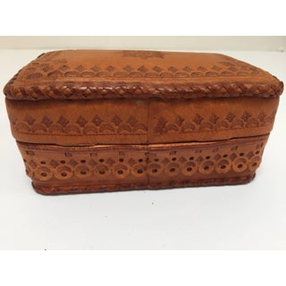 Leather Vintage Brown Box Hand Tooled in Morocco With Tribal African Designs Preview