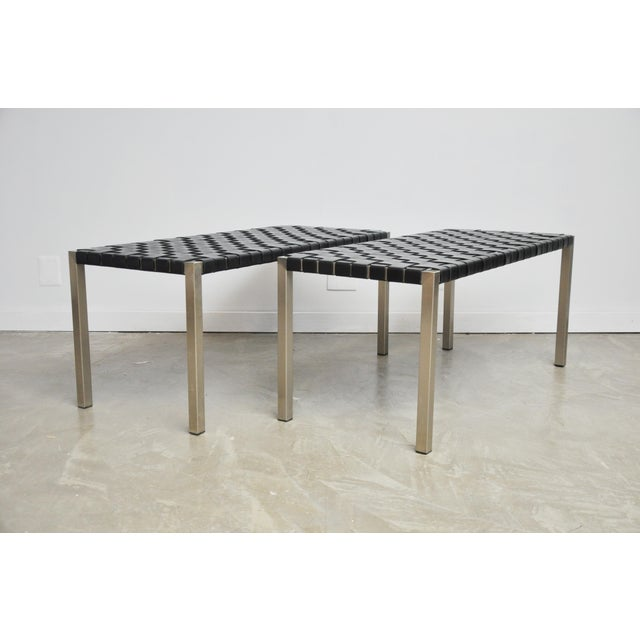 Silver Pair of Steel and Leather Strap Benches For Sale - Image 8 of 10