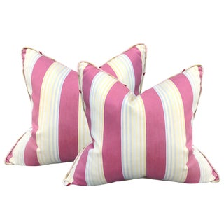 Pair of Early 20th Century French Ombré Striped Pillows For Sale