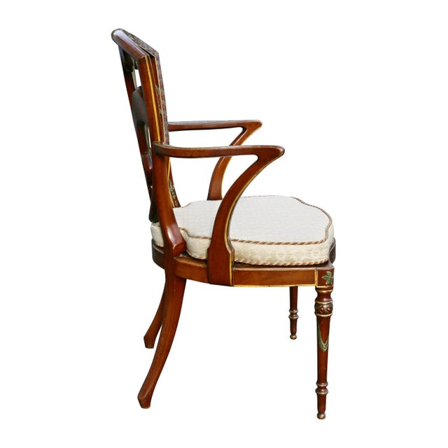Brown Edwardian Satinwood and Painted Armchair For Sale - Image 8 of 11