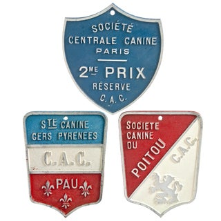 Vintage French Dog Show Award Plaques - Set of 3 For Sale