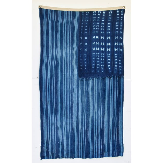 Large custom-tailored flag from vintage/professionally cleaned, handwoven/channeled indigo blue and white African...