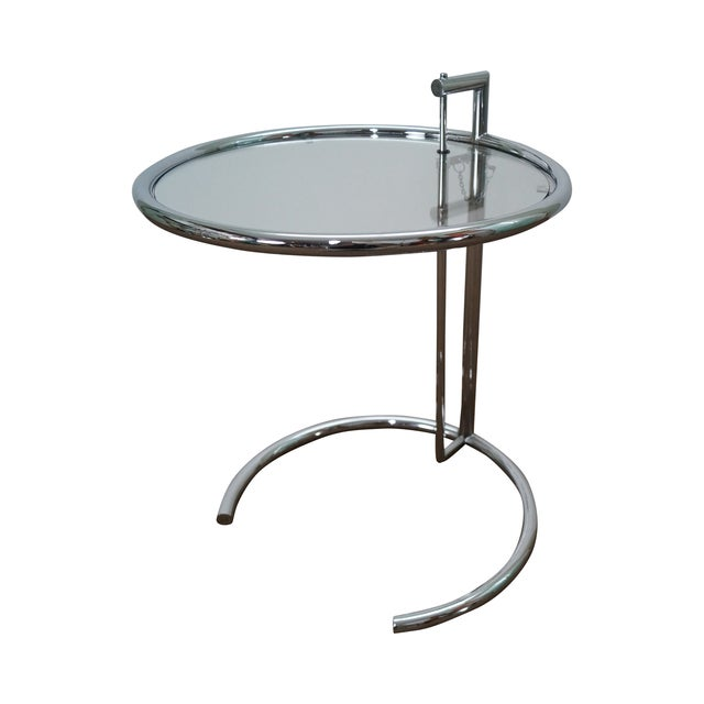 Eileen Gray Adjustable Chrome & Glass Side Table For Sale