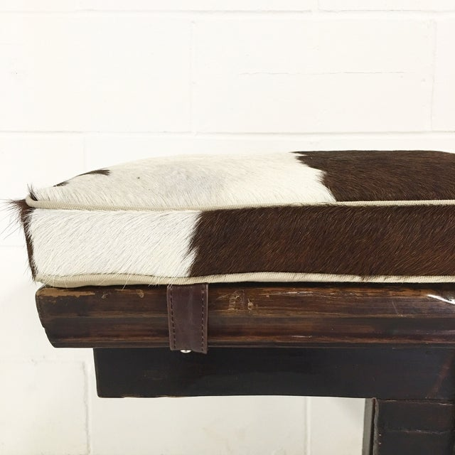 Vintage Chinese Bench with Cowhide Cushion - Image 5 of 8
