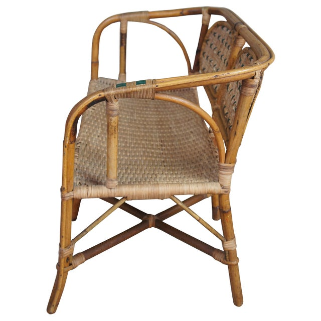 Hollywood Regency Antique Child's Rattan Cained Bamboo Settee For Sale - Image 3 of 11
