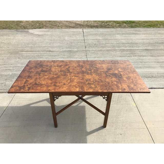 1960s Chippendale Patchwork Burl Wood Flip Top Game/Dining Table For Sale - Image 12 of 12