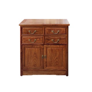 Chinese Brown Huali Rosewood 4 Drawers Side Table Cabinet For Sale