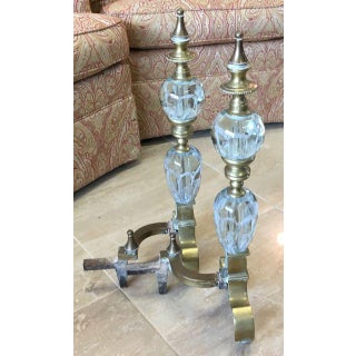 St Clair Crystal and Brass Paperweight Andirons - a Pair Preview