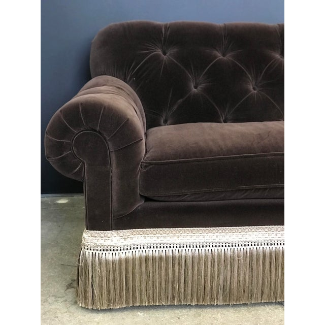Silk Mocha Brown Velvet Tufted Chesterfield With Fringe by Century Furniture For Sale - Image 7 of 13