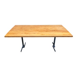 Vintage Butcher Block Dining Kitchen Table Drop Leaf For Sale