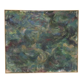 Modernist Abstract Oil by Sidney Zimmerman, Dated 1960 For Sale