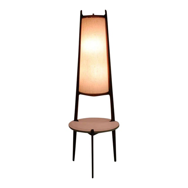 Mid-Century Modern Walnut Floor Lamp with Side Table For Sale