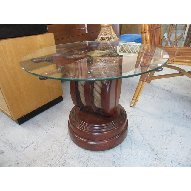 Ship Wheel & Pully Maritime Table - Image 2 of 6