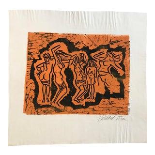 Mid Century Modern Woodcut Print by Hilliard Dean For Sale