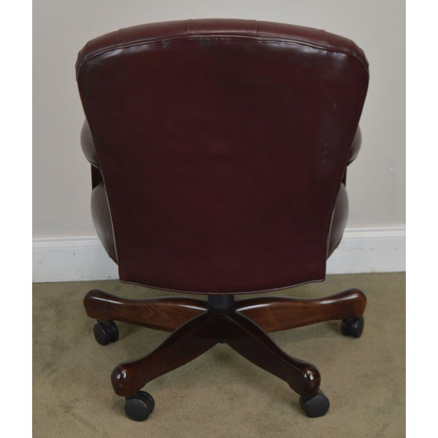 1990s Oxblood Red Leather Tufted Chesterfield Style Executive Office Desk Chair (E) For Sale - Image 5 of 13