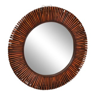 Contemporary Handcrafted Round Bent Rattan & Wood Mirror For Sale
