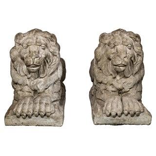 Early 20th Century Vintage Cast Concrete Lion Statues- a Pair For Sale