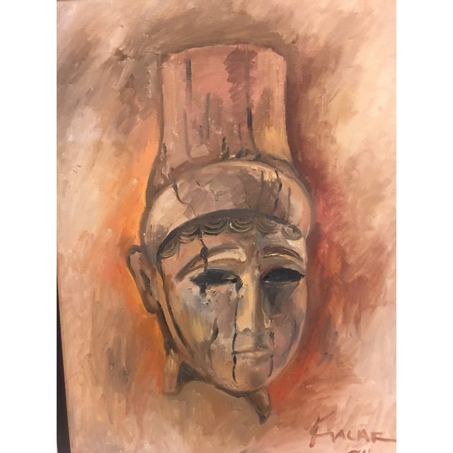 A beautiful 1984 oil painting on canvas by Amin Kalaf titled The Lady Of Alba. He was a Textile designer in New York. A...