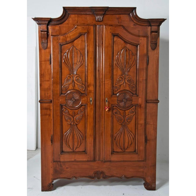 A very nicely shaped and carved armoire made in Italy in the 19th century. Great storage with wonderful color and detail....