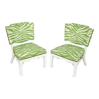 James Mont Green and White Zebra Chairs - a Pair For Sale